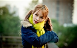 Preview wallpaper Blue coat girl, red hair, blurry background