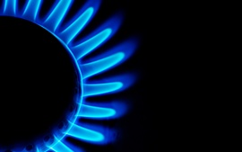 Preview wallpaper Blue fire, burner, gas, combustion, flame, black background