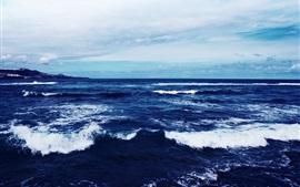 Preview wallpaper Blue sea, dusk, waves