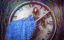 Preview wallpaper Blue skirt Asian girl sit at clock arrow