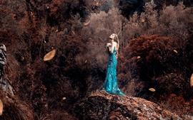 Blue skirt girl, autumn