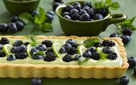 Myrtilles, mûres, tarte, gâteau