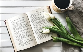 Preview wallpaper Book, coffee, white tulip, still life