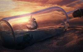 Botella, mar, barco, arenas, imagen creativa