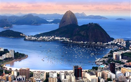 Preview wallpaper Brazil, Rio de Janeiro, city, mountains, bay, coast, boats, sea