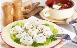 Preview wallpaper Breakfast, dumplings, greens, seasoning
