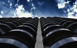 Edificios, balcón, nubes