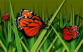 Preview wallpaper Butterfly, grass, vector