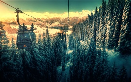 Preview wallpaper Cable car, mountains, funicular, forest, snow