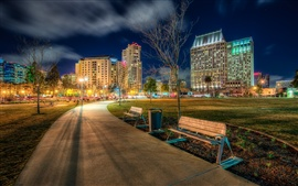 Preview wallpaper California, San Diego, USA, Ruocco Park, city, road, lights, night