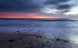 Aperçu fond d'écran Californie, mer, coucher de soleil, plage, nuages, USA