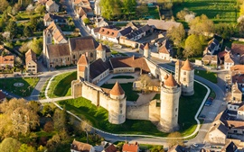 Chateau, France, castle, tower, city, road