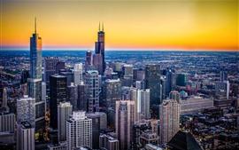 Чикаго, Иллинойс, США, город, небоскребы, огни, сумерки