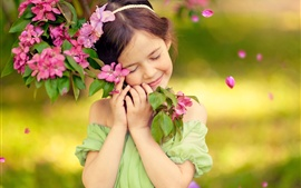 Preview wallpaper Childhood, little girl, smile, like flowers