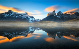 Preview wallpaper Chile, Patagonia, lake, water reflection, haze, Andes mountains, South America
