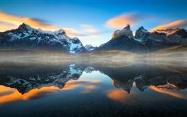Chile, Patagonia, lago, agua, reflexión, neblina, Andes, montañas, Suramérica