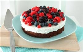 미리보기 배경 화면 초콜릿 케이크, 딸기, 접시, 디저트
