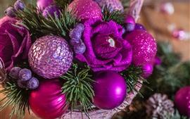 Bolas de Natal, doces, estilo roxo