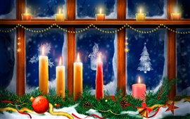 Christmas, window, candles, flame, spruce twigs, snow
