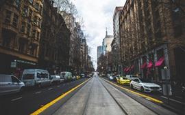 Cidade, estrada, rua, carros, edifícios