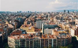 Vista de la ciudad, casas, edificios, vista superior