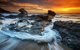 Costa, mar, rocas, nubes, anochecer