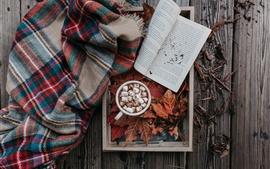 Coffee, cocoa, marshmallow, book, leaves, autumn