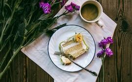 Preview wallpaper Coffee, cup, cake, flowers, breakfast