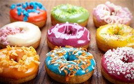Preview wallpaper Colorful donuts, bread, food