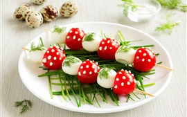 Preview wallpaper Colorful food, quail eggs, tomatoes