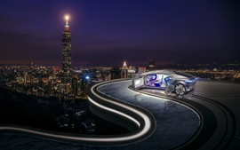 Concept car, night, lights, city