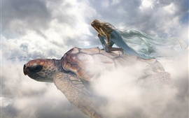 Creative picture, girl, turtle, flight, clouds