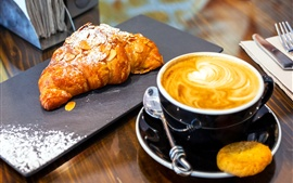 Croissant, baking, cappuccino coffee
