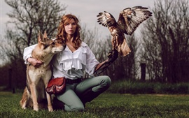 Preview wallpaper Curly hair girl, dog, eagle