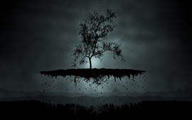 Preview wallpaper Dark night, tree, flight, mountains, creative picture