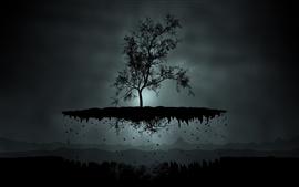 Nuit sombre, arbre, vol, montagnes, image créative