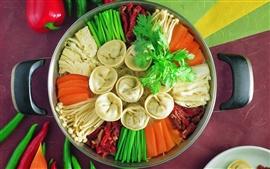 Вкусное блюдо, пельмени, овощи