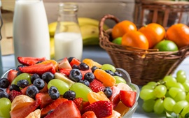 Preview wallpaper Delicious fruit salad, strawberry, grape, blueberry