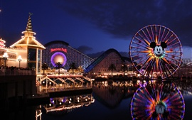 Preview wallpaper Disney California Adventure, Paradise Pier, roller coaster, ferris wheel, night
