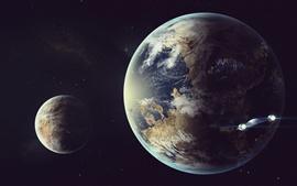 Aperçu fond d'écran Terre, lune, vaisseau spatial, espace