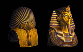 Preview wallpaper Egypt, Cairo Museum, Pharaoh, Tutankhamun mask, black background