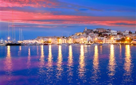 Eivissa, Spain, pier, yacht, bay, sea, houses, lights, night