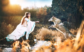 Preview wallpaper Elf girl and wolf