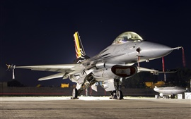 Preview wallpaper F-16AM Falcon fighter, multipurpose, night, lights