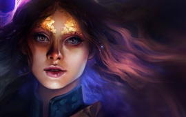 Preview wallpaper Fantasy girl, eyes, hair, look, art picture