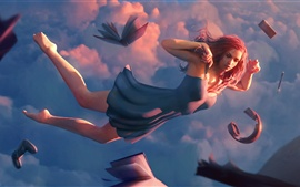 Preview wallpaper Fantasy girl flight, book, headphone, sky, clouds, art picture