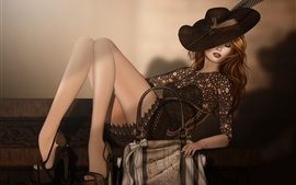 Preview wallpaper Fantasy girl, sleep, legs, chair, hat