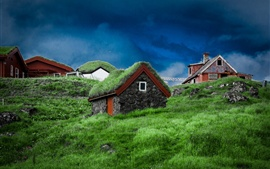 Preview wallpaper Faroe Islands, slope, houses, grass, stones, Denmark