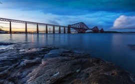 Forth Rail Bridge, Scotland, noite, rio, pôr do sol