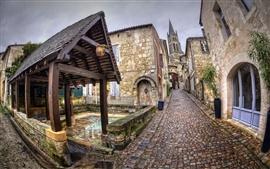 Aperçu fond d'écran France, Aquitaine, Saint-Emilion, ville, rue, maisons